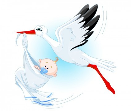 stork carrying a baby vector 235834