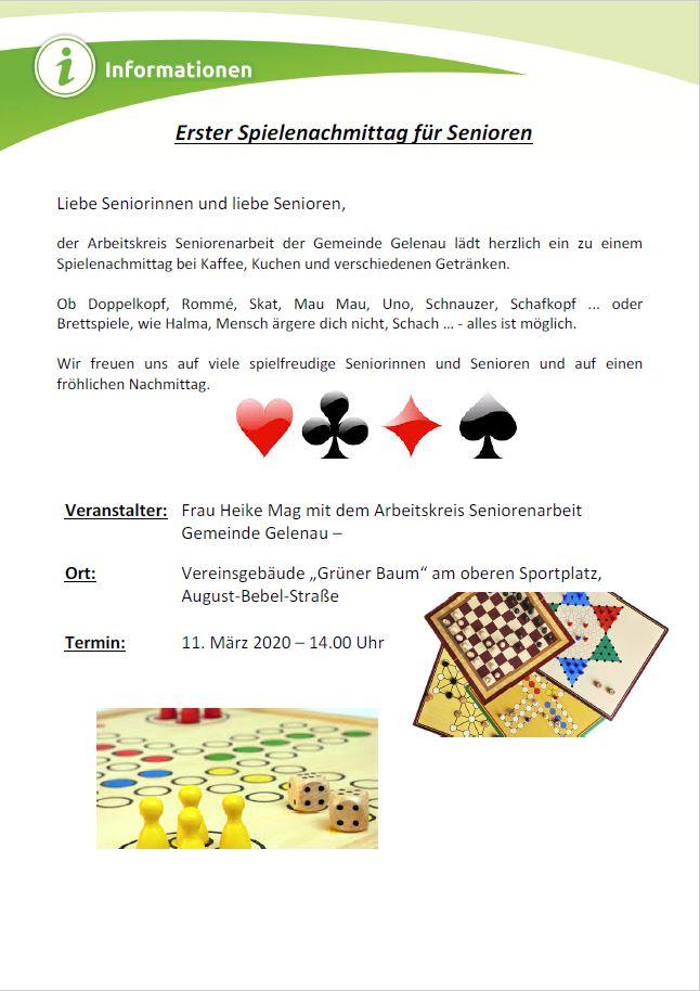 Begegnungs- und Spielenachmittag für Senioren